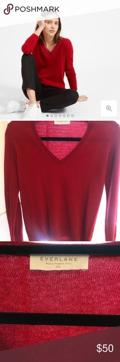 Everlane 100% cashmere v-neck sweater Selling a Red Cashmere V-Neck from Everlane. Excellent condition and worn only once. Selling because it is a bit too small for my arms!   Link here for more product details, original price online was $100: https://www.everlane.com/products/womens-cashmere-v-neck2-garnet Everlane Sweaters V-Necks