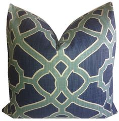 Geometric Pillow Cover P Kaufmann Pavilion Fretwork Indigo Pillow Cover Teal Trellis Pillow Aqua Throw Pillow ONE Cover Floral Pillows, Feather Pillows, Geometric Pillow, Decorative Pillow Covers, Accent Pieces, Screen Printing, Pavilion, Trellis