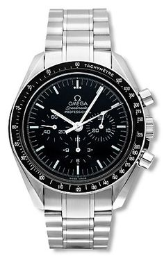 Omega Speedmaster Professional Mechanical Chronograph | This model was the first watch to be worn on the moon, and interestingly, Buzz Aldrin's was the first watch on the surface of the moon. Neil Armstrong left his inside the LEM.