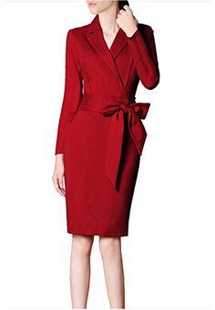 65c3b710d4e5 Creator2018 Femme Robe d affaires Robe Fourreau à col Tailleur Femmes  Ceinture Manches Longues Rouge