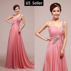 Chiffon Long Formal Dress Bridesmaid Evening Ball Gown Prom Party Dress US selle #Dress
