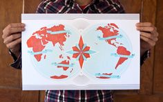 These Are Things Dual Hemispheres letterpress world #map, $60    • 11x17""