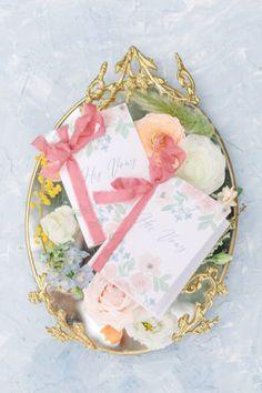 Pastel his and hers vow books. Photo: @camilamargottaphoto Wedding Stationery Inspiration, Wedding Inspiration, Pastel Wedding Colors, Brick Detail, Vow Book, Santa Ynez, Letterpress, Floral Arrangements, Wedding Photography