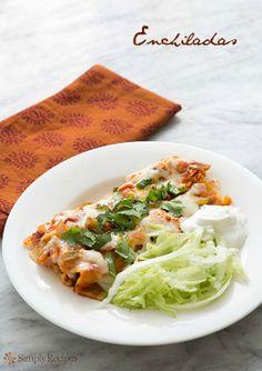 Enchiladas on http://SimplyRecipes.com Family favorite recipe, cheese enchiladas #glutenfree #vegetarian