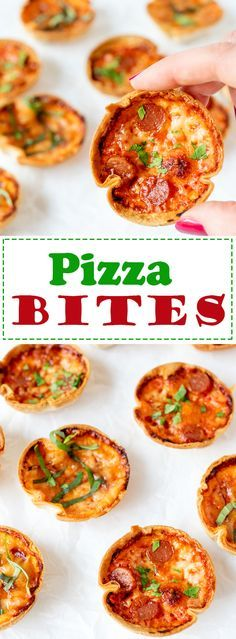 Easy PIZZA BITES - two types! Mozzarella basil and red onion, and cheesy pepperoni. Kids and adults love them!