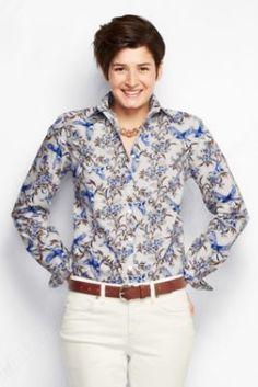 Women's Long Sleeve Pattern Supima No Iron Shirt