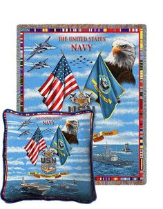 Navy Chiefs Tapestry Pillow and Throw Set - Buy at Snugglebug Pillows and Throws www.snugglebugpillowsandthrows.com