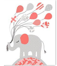 Elephant Nursery Art, Balloons, Coral and Grey, Girl's Nursery Decor, Baby Shower Gift, Baby Girl, Canvas Nursery, Elephant Canvas Art by SweetPeaNurseryArt on Etsy