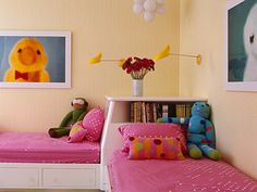 kids room decor, twin beds, bedroom decor, children's bedroom, pink beds