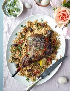This tasty Greek roast lamb recipe by Gizzi Erskine is packed with Greek flavours inspired from a trip to Kefalonia. Goat Recipes, Greek Recipes, Dinner Recipes, Cooking Recipes, Savoury Recipes, Easy Cooking, Dinner Ideas, Lamb Ribs, Roast Lamb