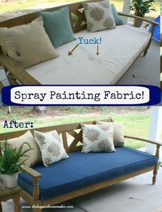 Yes you CAN spray paint fabric! from The Happier Homemaker.or Rit dye in spray bottle per another pinner. C Hovey Yes you CAN spray paint fabric! from The Happier Homemaker.or Rit dye in spray bottle per another pinner. C Hovey Fabric Spray Paint, Spray Paint Cans, Fabric Painting, How To Paint Fabric, Spray Paint Upholstery, Spray Paint Wood, Spray Paint Projects, Painting Art, Patio Furniture Cushions