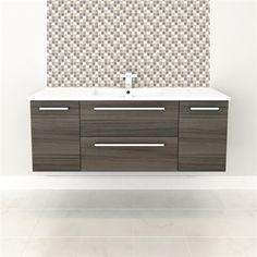 Wall Hung Vanity - ZAMBUKKA #vanity #drawers #sink #darkcabinets #darkwood #bathrooms #interiordesign #renovations #CutlerKitchenandBath