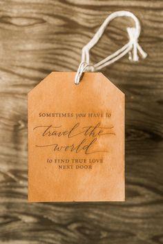 Leather Luggage Tag Wedding Invitation