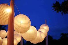White Paper Lantern String Lights