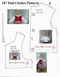 """Free traditional swedish outfit pattern for 18"""" dolls - vest"""