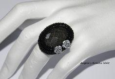 """Ring """"Schwarze mit Metall Rosen"""" 925 Silber von Angela`s Kreativ Welt auf DaWanda.com"""