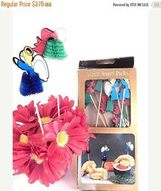 Party Picks Food Skewers Wood and Paper Angel and Bell