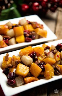 Roasted Butternut Squash And Turnip - Try this savory-sweet roasted side dish with anything you're cooking this winter. #Paleo #Glutenfree
