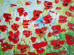 RED POPPIES FIELD Original Oil Painting Flowers by LUIZAVIZOLI, $275.00