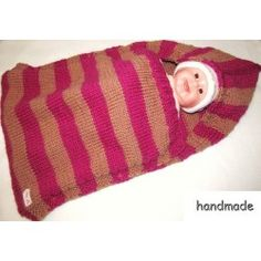cocoon baby, ručně pletený kokon pro miminko s kapucí, spací vak, pytel, fusak; knitting baby sleeping bag, hood