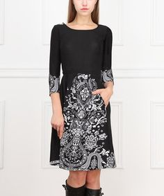 Black & White Arabesque A-Line Dress #zulily #ad *love the simplicity