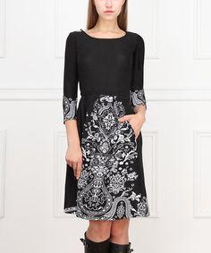 Loving this Black & White Arabesque Three-Quarter Sleeve Dress on #zulily! #zulilyfinds