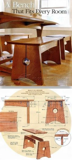 Wood Bench Plans - Furniture Plans and Projects   WoodArchivist.com #WoodworkingBench #woodworkingplans