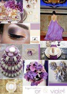 Gold & purple wedding colour board
