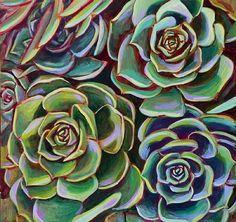 "Four Succulents by Linnea Tobias Acrylic ~ 16"" x 16"""