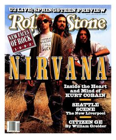 Kurt Cobain, Krist Novoselic, and Dave Grohl of Nirvana appear on the cover of Rolling Stone issue on April Aberdeen, Pat Smear, The Rolling Stones, Dave Grohl, Guns N Roses, Beatles, Rock Music, My Music, Indie Music