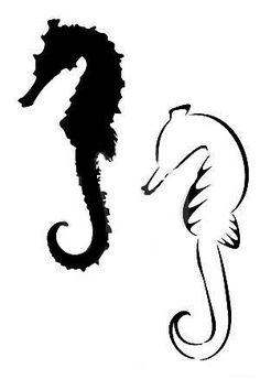 Black And White Seahorse Tattoo