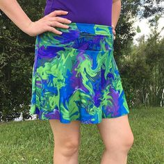 The perfect skirt for an Earth Day race or to match your Galloway running tops, this vibrant running skirt has built-in shorts & gives back to Special Olympics!