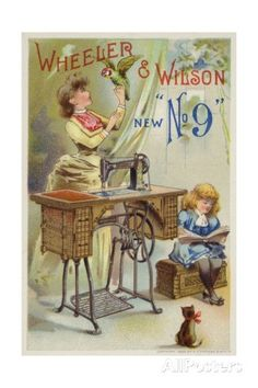 Woman Holding Parrot Next to Sewing Machine Giclée-Druck bei AllPosters.de