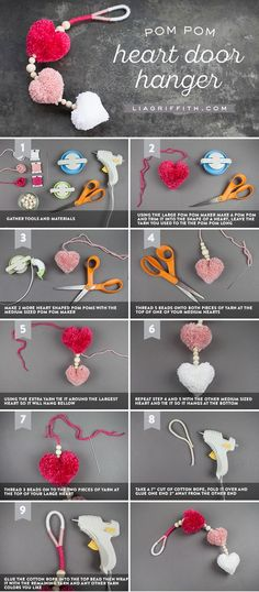 Learn how to create easy DIY pom pom heart decor – Treva Macy - Crochet Diy Décoration, Easy Diy Crafts, Craft Stick Crafts, Craft Gifts, Diy Gifts, Craft Ideas, Diy Ideas, Pom Pom Crafts, Yarn Crafts