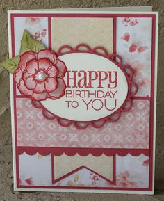 handmade birthday card from Crafty Nanas Blog: Seize The Birthday #12  ...pink and red ... layered flower ... big sentiment in oval layered with scalloped oval base ... sweet!!