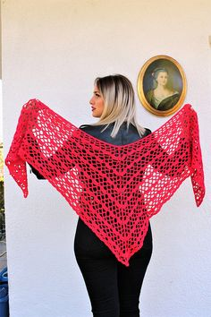 Red Crochet Shawl Cotton Lace Shawl Casual and Chic Shawl