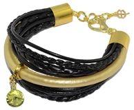 Bransoletka z rzemyków ze skóry naturalnej i ekologicznej w kolorze czarnym i złotym, z ozdobną zawieszką z kryształkiem.