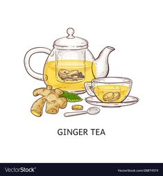 Ginger Drink, Ginger Tea, Tea Illustration, Glass Teapot, Poster Ads, Teapots And Cups, Retro Art, Modern Graphic Design, Cartoon Styles