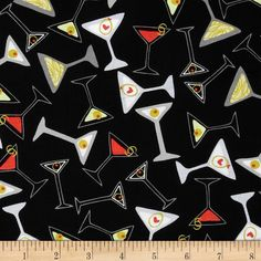 Kanvas Shaken or Stirred Toss Martini Black from @fabricdotcom  Designed by Maria Kalinowski for Kanvas Studio in association with Benartex. This fabric is perfect for quilting, apparel and home decor accents. Colors include grey, olive, pale yellow, red, white and black.