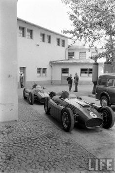 1956 — Lancia/Ferrari D50′s at the Ferrari facilities at Maranello preparation for the Monaco Grand Prix race –Photo by Thomas McAvoy for L...