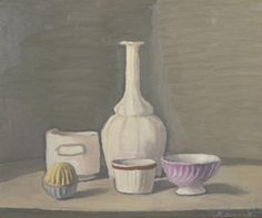 Giorgio Morandi - Still Life 1946 Natura morta oil on canvas Tate Modern, London, UK Italian Painters, Italian Artist, Galerie Des Offices, Simple Subject, Still Life Artists, Tate Gallery, Art Terms, Still Life Oil Painting, Magic Realism