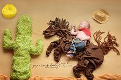 Precious Baby Photography newborn cowboy bucking bronko rodeo lasso Baby ImaginArt by Angela Forker scene