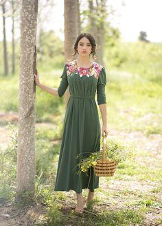 Romantic Green Pastel Floral Dress Boutique: Studio Shacharit