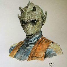 Greedo - Star Wars! Done in watercolor #greedo #starwars #watercolor #portrait #fanart daverapoza.com