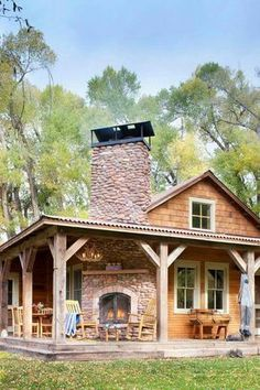 That outdoor fireplace! More