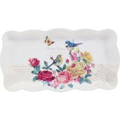 Diese Kuchenplatte macht mit den Blumen, Vögeln und Schmetterlingen Lust auf den Frühling! Eine Servierplatte mit Ausstrahlung!