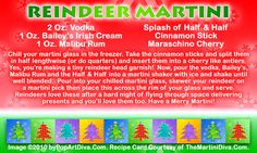 RUDOLF'S REINDEER  CHRISTMAS MARTINI recipe on a Free Recipe Card - Click the image for the Full Sized, Print Quality Recipe Card!