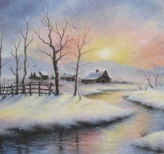 Peaceful Winter 18X24 original oil painting, barns, country winter snowscene, river, cabin, sunset, snow landscape
