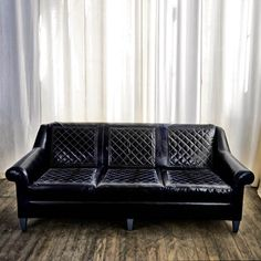 Sofa no. Two Twenty: Leather sofa – quilted cushion, worn leather, rolled arm… Types Of Couches, Home Building Design, Black Sofa, Room Interior Design, Leather Sofa, Quilted Leather, Furniture Manufacturers, Elle Decor, Home Furniture