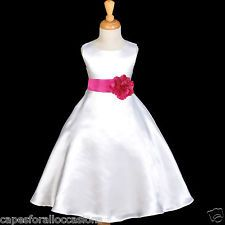 WHITE WEDDING COMMUNION BAPTISM FLOWER GIRL DRESS 18M 2 3T 4 5T 6 7 8 9 10 12 14